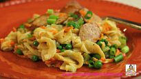 Hot Buttered Egg Noodles with Sausage and Peas