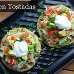 green chile chicken tostadas