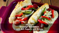 Air Fryer Sausage Sandwich with Bell Peppers and Onion