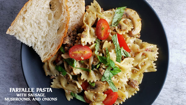 bow tie farfalle pasta with sausage and mushrooms